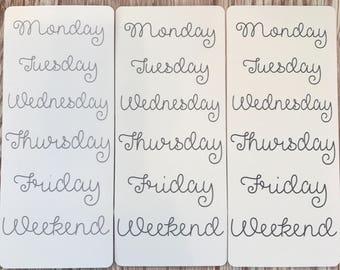 Grey days of the week premium matte stickers