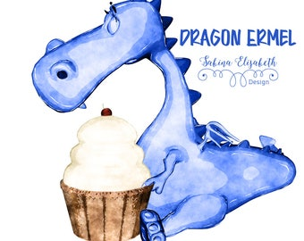 Dragon Ermel 3, blue, Watercolor Clipart, Baby, Child, Fun, Craft