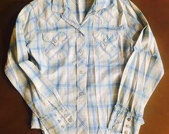 Original Vintage 1950's 50's H Bar C Western Blue Plaid Pearl Snap Front Shirt - M