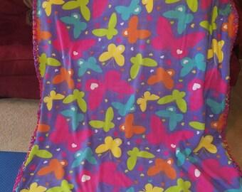 Butterfly reversible fleece blanket
