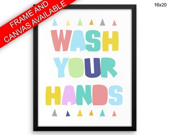 Wash Your Hands Prints  Wash Your Hands Canvas Wall Art Wash Your Hands Framed Print Wash Your Hands Wall Art Canvas Wash Your Hands Pastels