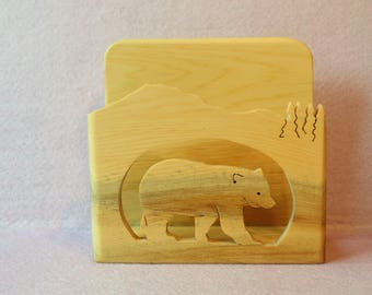 Handcrafted Scroll Sawed Bear Napkin Holder