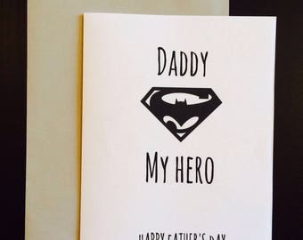 Daddy My Hero Card- Fathers Day