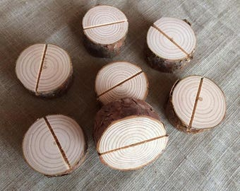 100 Natural Wood Place Card Holders, Natural Wood Place Card Holders, Natural Wood Circle Place Card Holders Set of 100