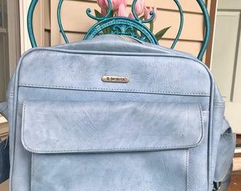 Samsonite Blue Bag, Vintage Bag, Vintage Blue Bag, Vintage Luggage Carry-On, Small Overnight Bag
