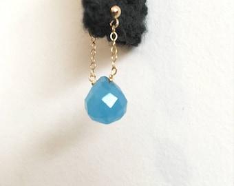 Swing Onion Earrings -Aqua- 14k Gold with Aqua Blue Chalcedony