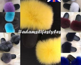 Nike Real Fox fur slide slippers
