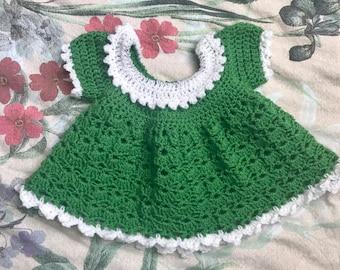 Baby girl crochet green dress, 0-6 months