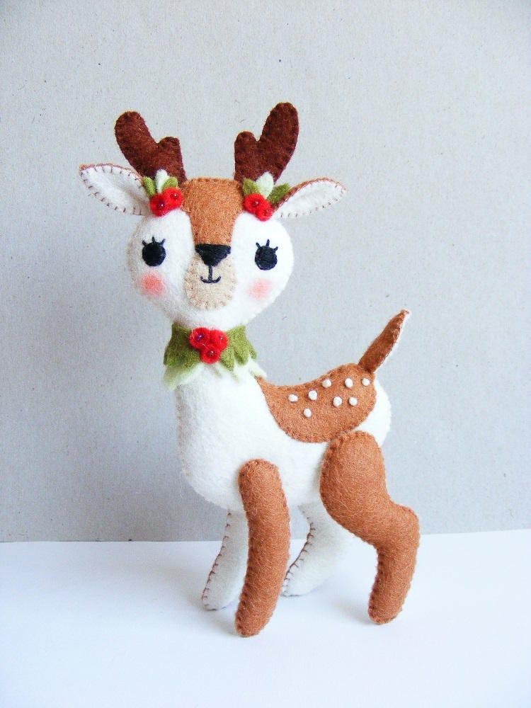 Felt Pdf Sewing Pattern Christmas Fawn Felt Softie