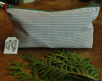 Small carrying pouch doubled / / pencil case / / print stripe Burgundy Interior and White Navy / / hand-stitched