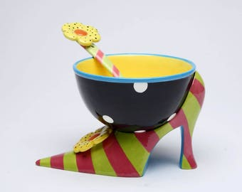 Ice Cream Bowl - Stripe Heel Bowl with Spoon (62655)