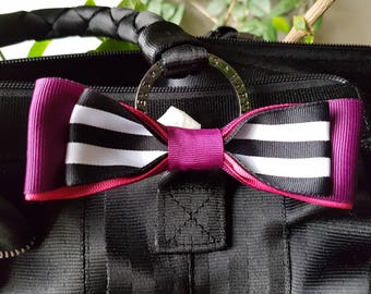 Grosgrain ribbon bow with elastic ties for Harveys seatbelt bag