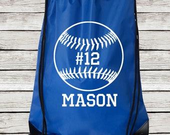 Personalized Baseball Drawstring Tote, Baseball Drawstring Bag Personalized with Name and Number