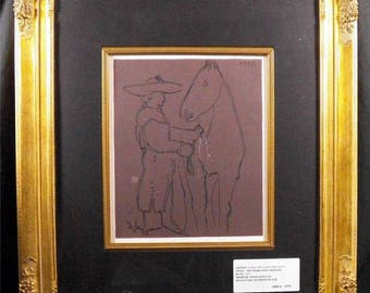Pablo Picasso, Linoleum Cut, 1964, Picador and Cabalo, Dated in Plate, Surrealism