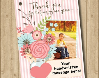 Thank you for helping me grow    Flower Pot Tag    Printable Gift Tag Tag    Teacher    Coach    Daycare    Gift tag    Personalize    Photo