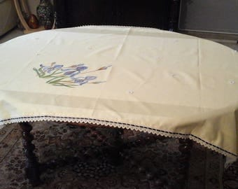 hand painted cotton tablecloth