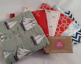 Nautical Fat Quarter Pack / Bundle 100% Cotton Red, White, Blue Green, Boats