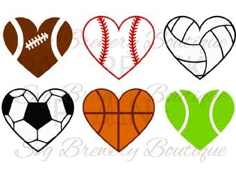Balls heart, baseball, football, soccer svg, png, dxf, pdf for cricut, silhouette studio, cutting machines, vinyl decal, t shirt design