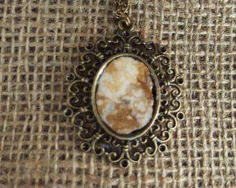 Bronze Vintage Handmade Gemstone Pendant  with Necklace