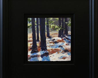 Pine Shadows on Snow, oil painting on hardboard, 5x5 inches, in satin black frame
