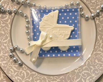 chocolate buggy baby shower favor in a box