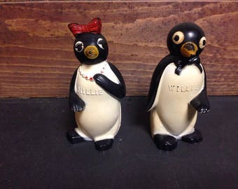 1940's Vintage Willie and Millie Salt/Pepper Shakers