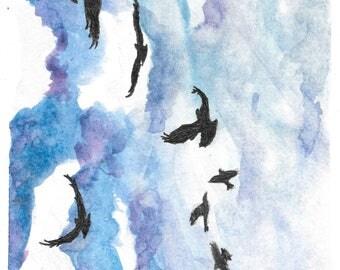 Watercolour Birds in Flight Print