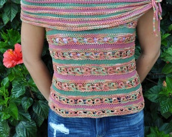 Ready to ship,Women top, Hand-knitted top, Summer top, Gift for her, Women's clothing,sweaters, handmade ,knitted