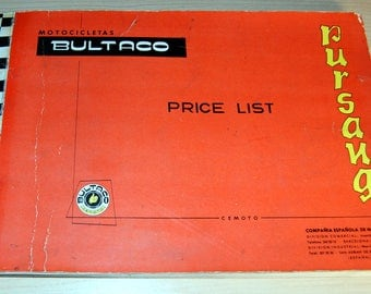 Bultaco Pursang Price List (Original!) 1960s  Nice Condition!