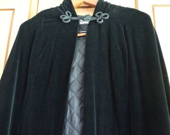 Vintage Black Velvet Full Length Cloak with cape by QUAD