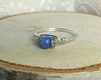 Blue Crystal Wire Wrapped Ring