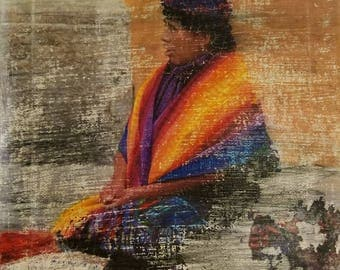 Another Place, Another Time: Guatemalan Lady, Canvas, Distressed, Colors, Wall Art, Decorations, Hanging art, Photo Transfer, Woman, photo