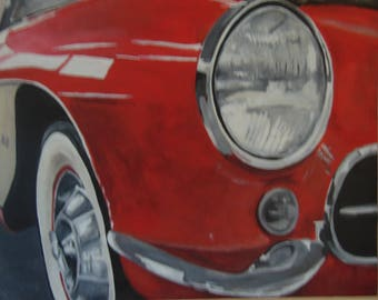 Auto Art Large acrylic pianting ,Classics, racing, Hot Rods.
