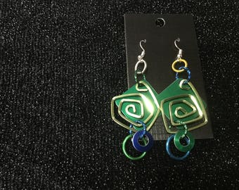 Earrings. Anodized aluminum