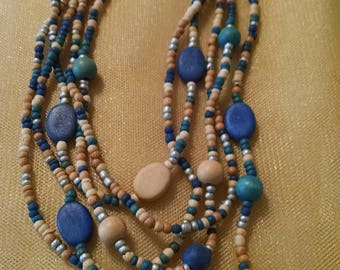 Multi-color wood bead, multi-strand necklace