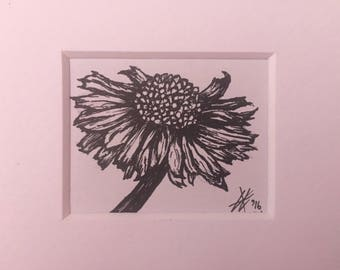 Original black ink pen daisy flower drawing