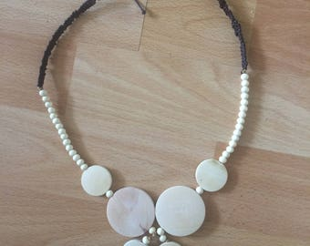 Ethnic style wooden necklace