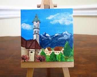 Springtime in Graubünden | Switzerland village acrylic painting | miniature canvas art | mountain church picture | by Jeni Hudson
