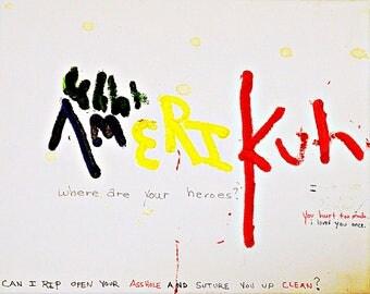 amerikuh canvas print on postcard