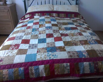 Shabby chic, warm colours, patchwork quilt, squares, hand quilted, unique patchwork, Autmunal colours