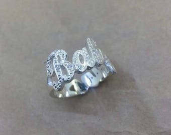925 Silver Ring Personalized Name Engrave