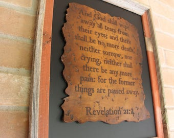Antiqued Leather Scripture Art