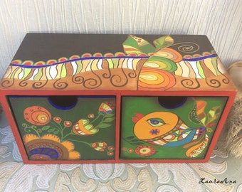 Bird and Flowers decorated wooden box, hand painted, two drawers