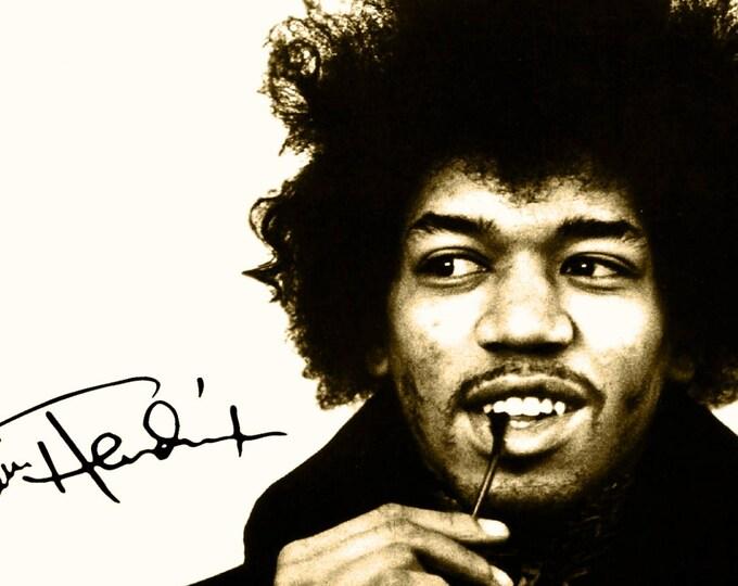 Framed Jimi Hendrix Print 11x17 Black Slim
