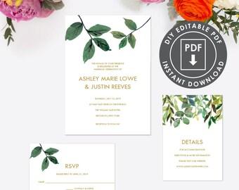 Instant Download Wedding Invitation | Digital Wedding Set | Printable Template Wedding Invitation | Greenery Wedding Template | Editable 004