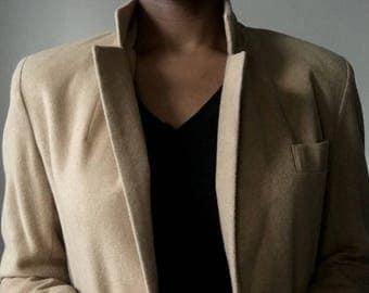Rare Dumas Vintage Wool Womens Blazer Beige Size 6