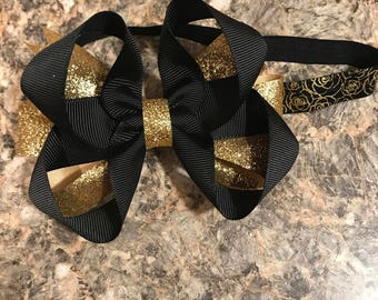 Black and gold stacked hairbow