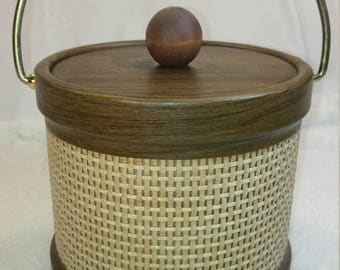 Vintage Ice Bucket Brown and Tan for Mid-Century Bar