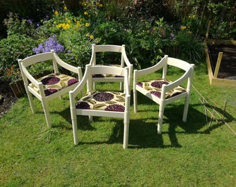 Set of four lovely re-upholstered conservatory/garden chairs in F&B cord.