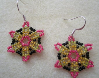 Beaded Spring Flower Earrings